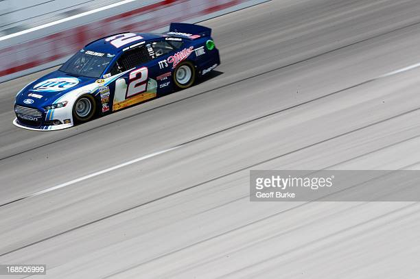 Brad Keselowski driver of the Miller Lite Ford practices for the NASCAR Sprint Cup Series Bojangles' Southern 500 at Darlington Raceway on May 10...