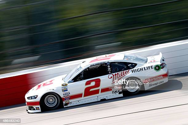 Brad Keselowski driver of the Miller Lite Ford practices for the NASCAR Sprint Cup Series Bojangles' Southern 500 at Darlington Raceway on September...