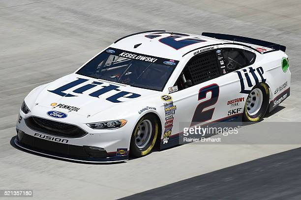 Brad Keselowski driver of the Miller Lite Ford practices for the NASCAR Sprint Cup Series Food City 500 at Bristol Motor Speedway on April 14 2016 in...