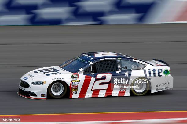 Brad Keselowski driver of the Miller Lite Ford practices for the Monster Energy NASCAR Cup Series Quaker State 400 presented by Advance Auto Parts at...