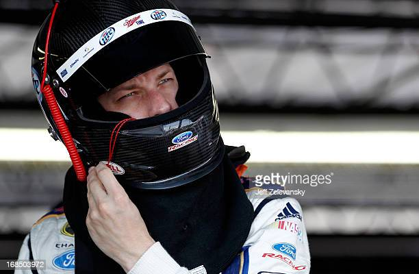 Brad Keselowski driver of the Miller Lite Ford prepares to practice for the NASCAR Sprint Cup Series Bojangles' Southern 500 at Darlington Raceway on...