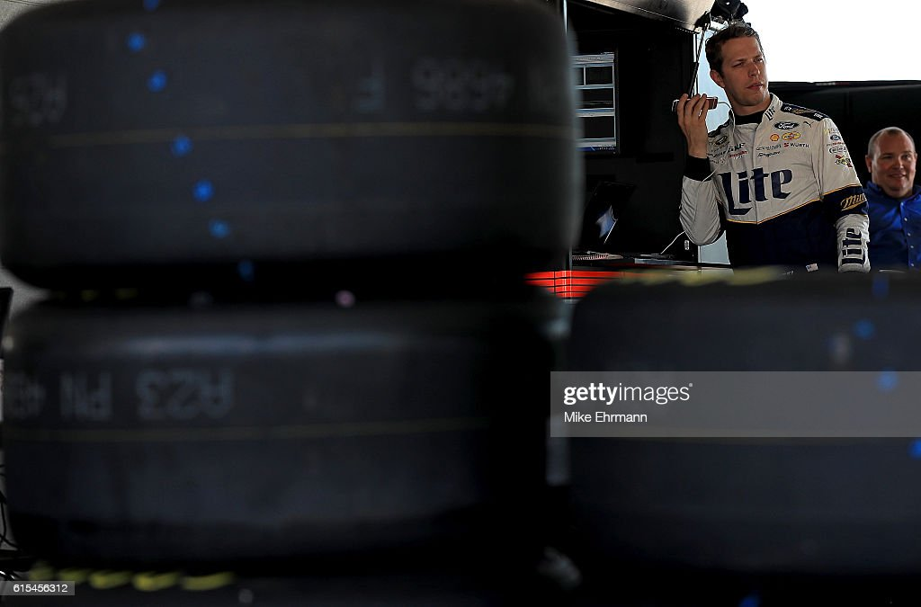 Brad Keselowski, driver of the #2 Penske Racing Ford looks on during testing at Homestead-Miami Speedway on October 18, 2016 in Homestead, Florida.