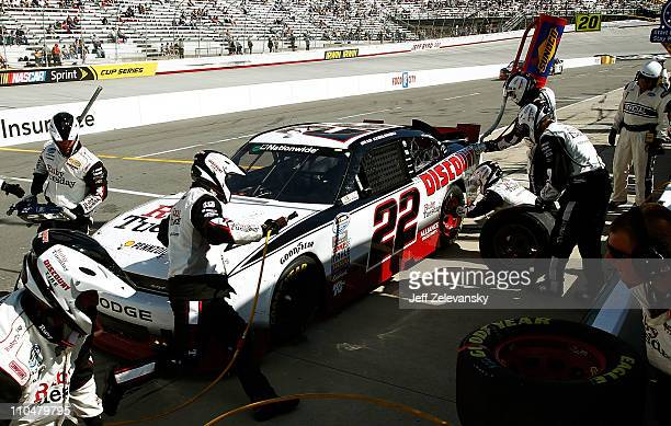 Brad Keselowski, driver of the Ruby Tuesday/Discount Tire Dodge, pits during the NASCAR Nationwide Series Scotts EZ Seed 300 at Bristol Motor...
