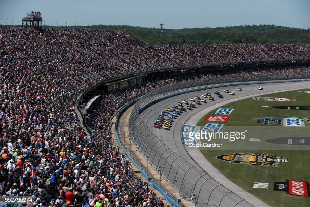 Brad Keselowski driver of the Snap On Ford and Joey Logano driver of the Shell Pennzoil/Autotrader Ford lead the field during the Monster Energy...