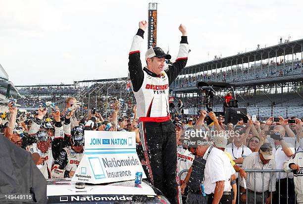 Brad Keselowski, driver of the Snap-On Tools Dodge, celebrates in Victory Lane after winning the NASCAR Nationwide Series Indiana 250 at Indianapolis...
