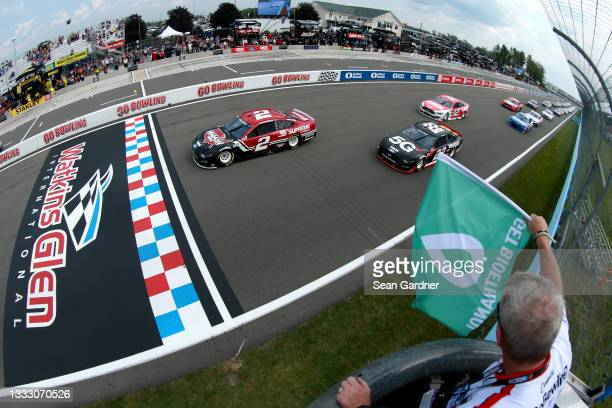 Brad Keselowski, driver of the Wabash National Ford, leads the field to the green flag to start the NASCAR Cup Series Go Bowling at The Glen at...