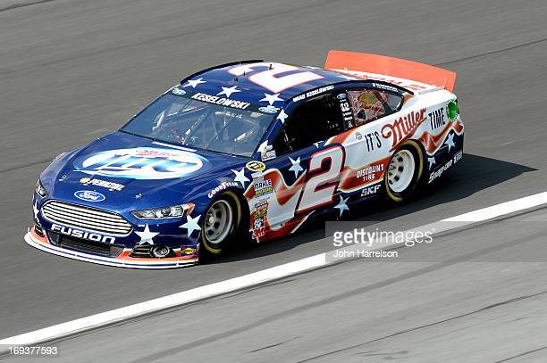 Brad Keselowski drives the Miller Lite Ford during practice for the NASCAR Sprint Cup Series CocaCola 600 at Charlotte Motor Speedway on May 23 2013...