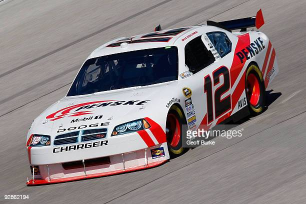 Brad Keselowski drives the Penske Dodge during practice for the NASCAR Sprint Cup Series Dickies 500 at Texas Motor Speedway on November 6 2009 in...