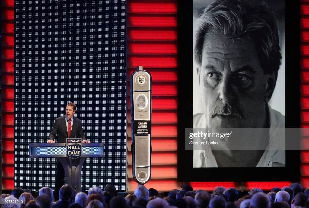 Brad Keselowski inducts Robert Yates to the Hall of Fame during the NASCAR Hall of Fame Induction Ceremony at Charlotte Convention Center on January 19, 2018 in Charlotte, North Carolina.
