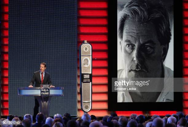 Brad Keselowski inducts Robert Yates to the Hall of Fame during the NASCAR Hall of Fame Induction Ceremony at Charlotte Convention Center on January...