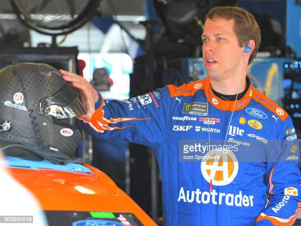 Brad Keselowski Penske Racing AutoTrader Ford Fusion preparing for practice for the Monster Energy Cup Series Folds of Honor Quiktrip 500 on February...