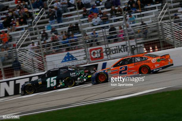 Brad Keselowski Team Penske Autotrader Ford Fusion chases Ross Chastain Premium Motorsports Chevrolet Camaro during the 59th running of the Monster...