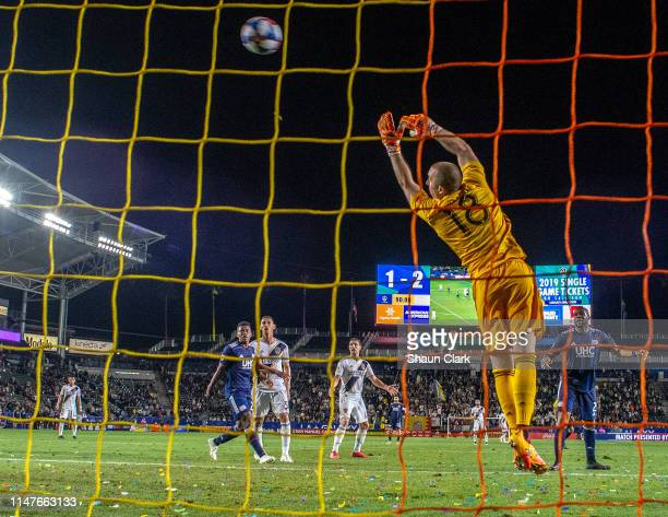 Brad Knighton of New England Revolution makes a save during the Los Angeles Galaxy's MLS match against New England Revolution at the Dignity Health...