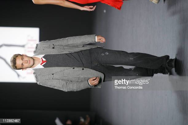 Brad Koenig models during the Fashion For Relief charity runway event in Bryant Park New York City on September 16 2005 The celebrity fashion show...