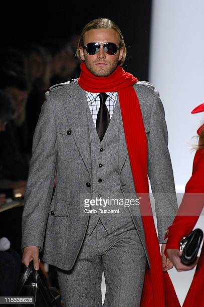 Brad Koenig wearing Michael Kors Fall 2005 during Olympus Fashion Week Fall 2005 Michael Kors Runway at The Tent Bryant Park in New York City New...