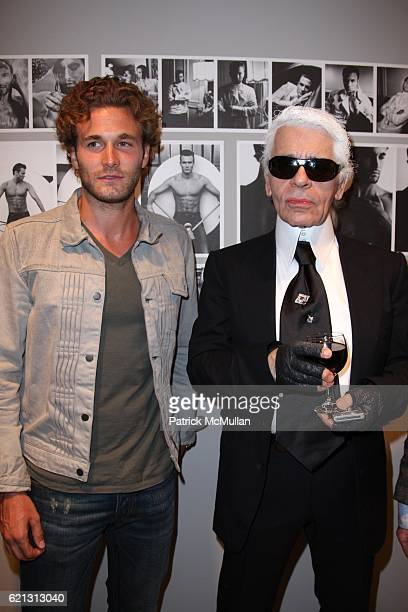 Brad Kroenig and Karl Lagerfeld attend KARL LAGERFELD Book Launch METAMORPHOSES OF AN AMERICAN at Pace/MacGill Gallery/New York on May 16 2008