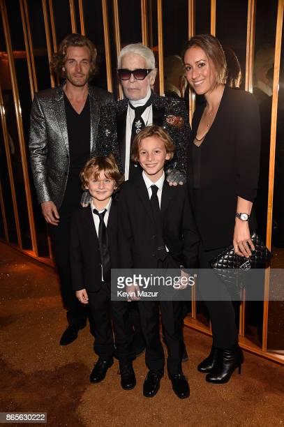 Brad Kroenig Karl Lagerfeld Nicole Kroenig Hudson Kroenig and Jameson Kroenig attend V Magazine's intimate dinner in honor of Karl Lagerfeld at The...