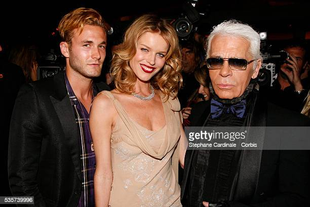 Brad Kroenig with cohosts supermodel Eva Herzigova and designer Karl Lagerfeld at the private party for the new campaign of Dom Pérignon Rosé Vintage...
