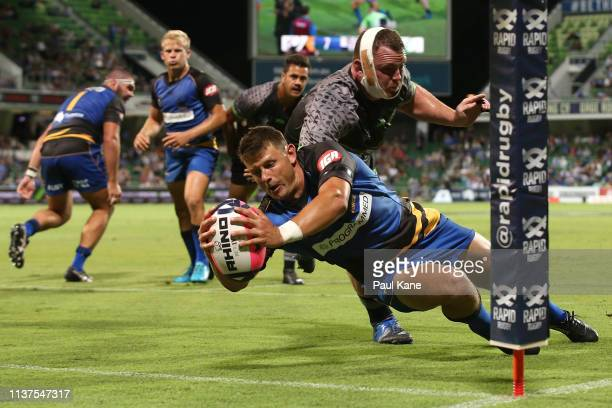 Brad Lacey of the Force crosses for a try during the Global Rapid Rugby match between the Western Force and the World XV at HBF Park on March 22 2019...