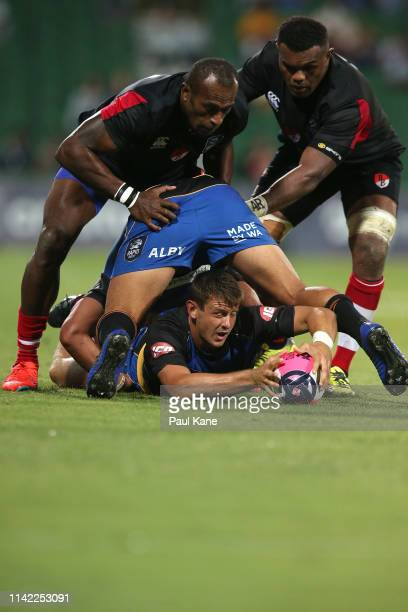 Brad Lacey of the Force releases the ball during the Rapid Rugby match between the Western Force and the Asia Pacific Dragons at HBF Stadium on April...