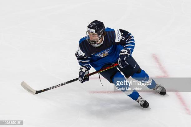 Brad Lambert of Finland skates against Germany during the 2021 IIHF World Junior Championship at Rogers Place on December 25, 2020 in Edmonton,...