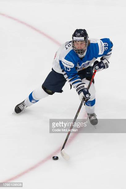 Brad Lambert of Finland skates against the United States during the 2021 IIHF World Junior Championship semifinals at Rogers Place on January 4, 2021...