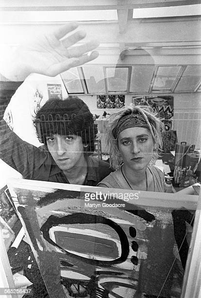 Brad Laner and Beth Thompson of Medicine in artist Paul Cannell's studio at Creation Records' original London offices 1992 United Kingdom 1992