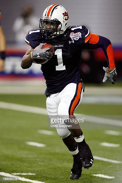 Brad Lester of the Auburn University Tigers runs against the Clemson Univeristy Tigers during the ChickFilA Bowl on December 31 2007 at the Georgia...