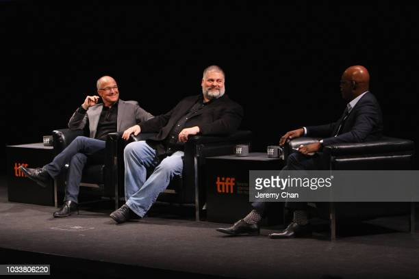 Brad Lewis Dean DeBlois and Cameron Bailey attend the 'How To Train Your Dragon The Hidden World' A BehindTheScenes Look during 2018 Toronto...
