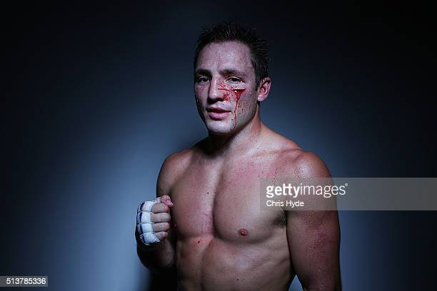 Brad Liddell poses for a portrait after winning his fight against John Wayne Parr during the Cage Muay Thai 8 bout at Logan Metro Sports Centre on...