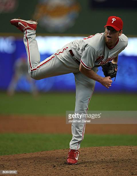Brad Lidge of the Philadelphia Phillies follows through after throwing the ball in the 9th inning against the Milwaukee Brewers on April 24, 2008 at...