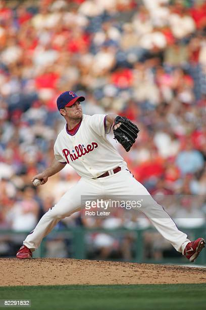 July 26: Brad Lidge of the Philadelphia Phillies pitches during the game against the Atlanta Braves at Citizens Bank Park in Philadelphia,...