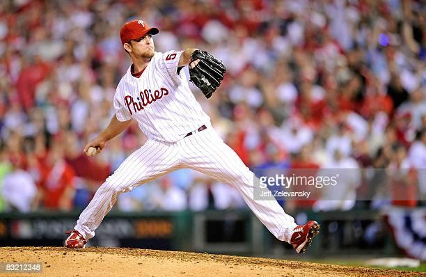 Brad Lidge of the Philadelphia Phillies throws a pitch against the Los Angeles Dodgers in Game One of the National League Championship Series during...