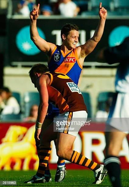 Brad Lloyd for Williamstown celebrates on the final siren after the VFL Grand Final between Williamstown and Box Hill played at Optus Oval on...
