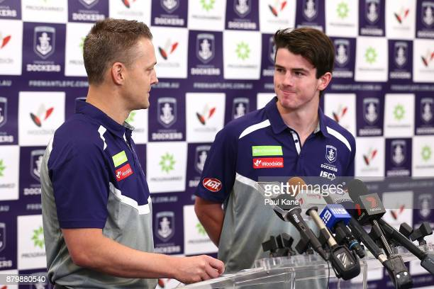 Brad Lloyd introduces Andrew Brayshaw to the media following a Fremantle Dockers AFL preseason training session at Victor George Kailis Oval on...