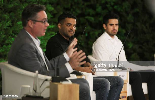 Brad Loiselle President and CEO BetterU with Deepinder Goyal Founder and CEO Zomato and Jeremy Jauncey Founder and CEO Beautiful Destinations during...