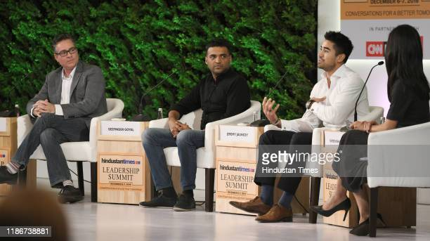 Brad Loiselle President and CEO BetterU with Deepinder Goyal Founder and CEO Zomato and Jeremy Jauncey Founder and CEO Beautiful Destinations in...