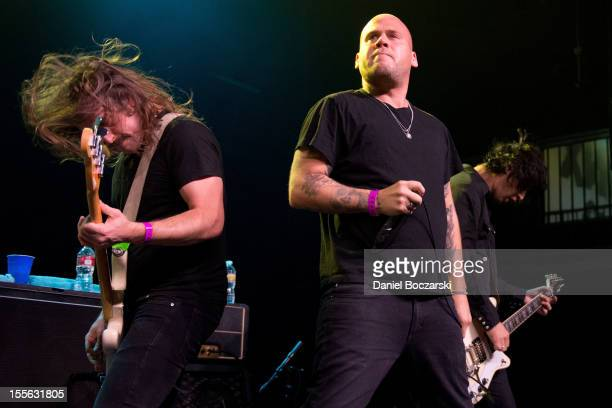 Brad Magers Matt Caughthran and Ken Horne of The Bronx perform on stage at The Fonda Theatre on November 5 2012 in Los Angeles United States