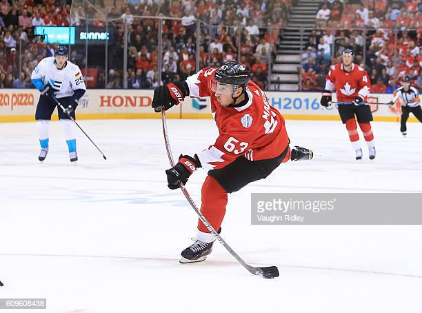 Brad Marchand of Team Canada fires a slapshot on Team Europe during the World Cup of Hockey 2016 at Air Canada Centre on September 21 2016 in Toronto...