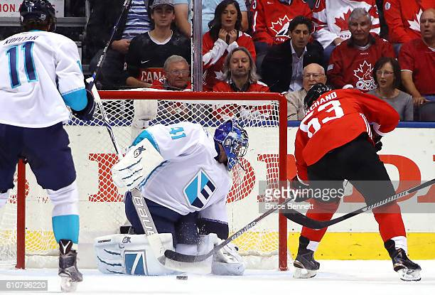 Brad Marchand of Team Canada scores a first period goal past Jaroslav Halak of Team Europe during Game One of the World Cup of Hockey final series at...