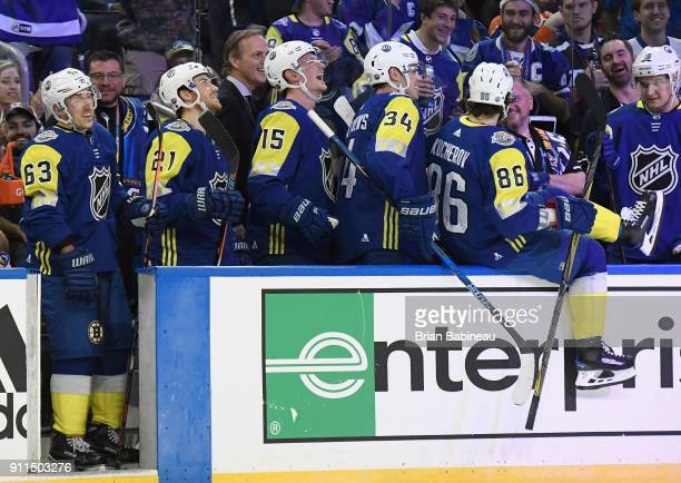 Brad Marchand of the Boston Bruins, Brayden Point of the Tampa Bay Lightning, Jack Eichel of the Buffalo Sabres, Auston Matthews of the Toronto Maple...