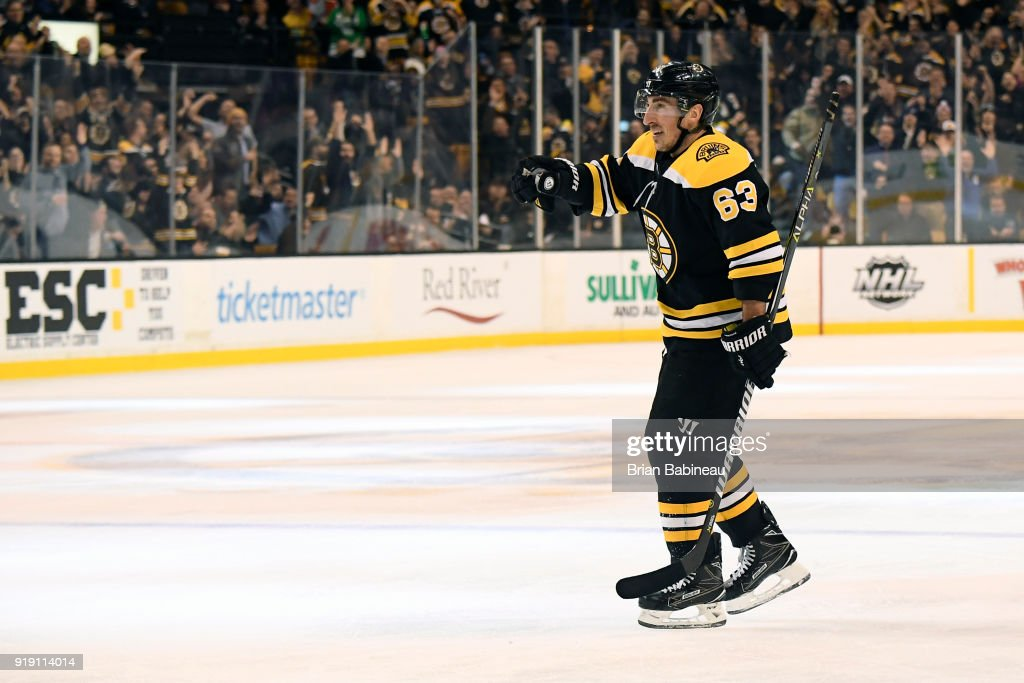 Brad Marchand #63 of the Boston Bruins celebrates a goal against the Calgary Flames at the TD Garden on February 13, 2018 in Boston, Massachusetts.