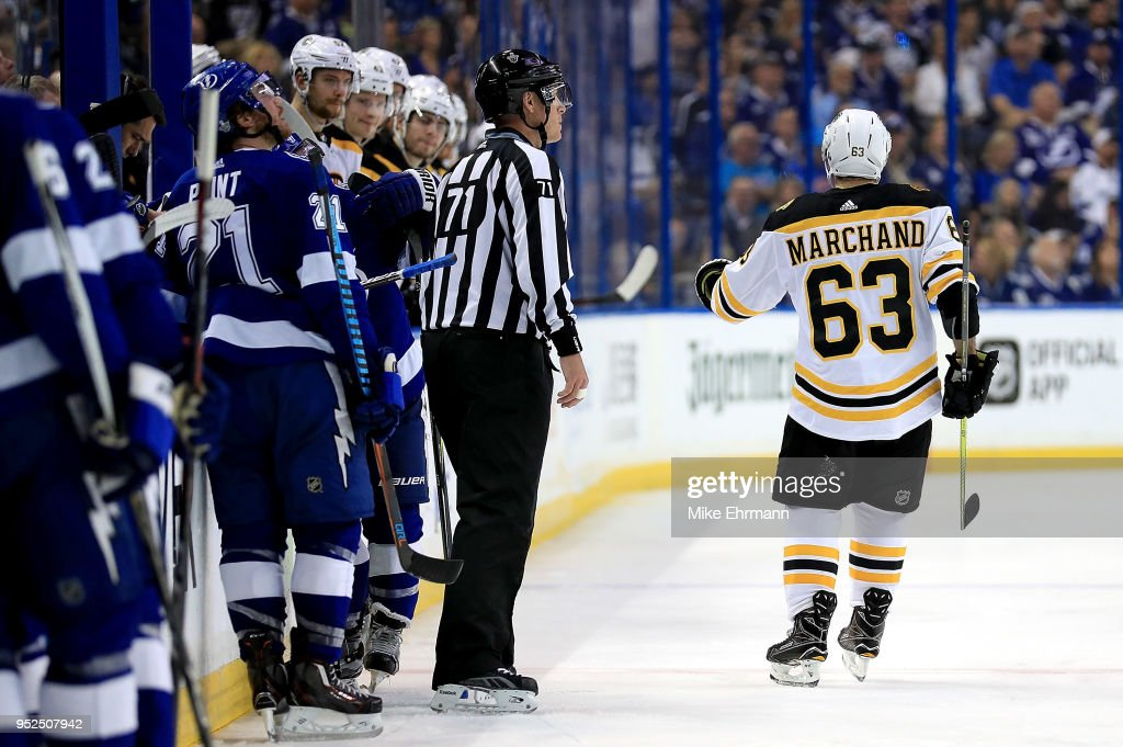 Brad Marchand #63 of the Boston Bruins celebrates a goal during Game One of the Eastern Conference Second Round against the Tampa Bay Lightning during the 2018 NHL Stanley Cup Playoffs at Amalie Arena on April 28, 2018 in Tampa, Florida.