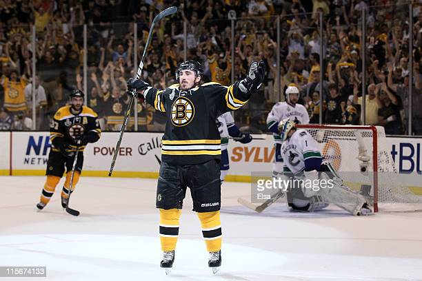 Brad Marchand of the Boston Bruins celebrates after scoring a goal in the second period against Roberto Luongo of the Vancouver Canucks during Game...