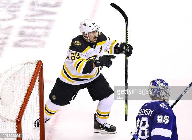Brad Marchand of the Boston Bruins celebrates after scoring a goal against the Tampa Bay Lightning during the second period in Game Two of the...