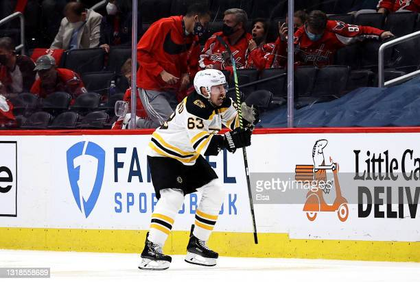 Brad Marchand of the Boston Bruins celebrates his game winning goal in overtime against the Washington Capitals in Game Two of the First Round of the...
