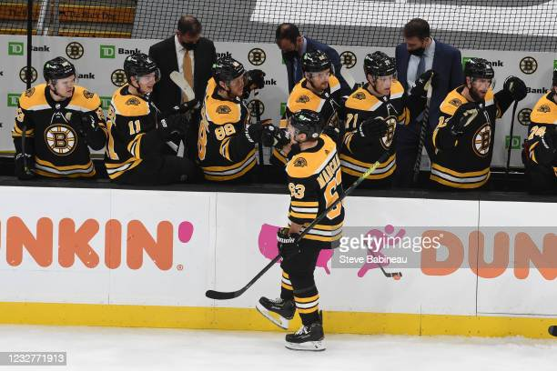 Brad Marchand of the Boston Bruins celebrates his third period goal against the New York Rangers at the TD Garden on May 8, 2021 in Boston,...