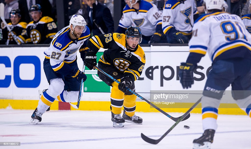 Brad Marchand #63 of the Boston Bruins controls the puck against the St. Louis Blues during the first period at TD Garden on November 22, 2016 in Boston, Massachusetts. The Blues won 4-2.