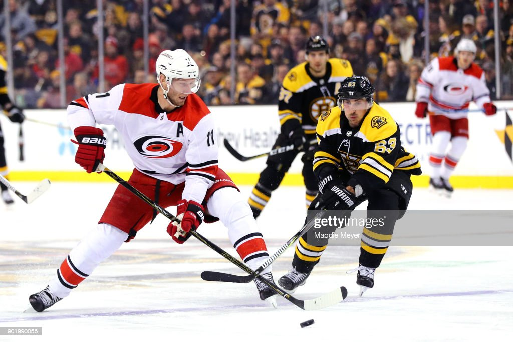 Brad Marchand #63 of the Boston Bruins defends Jordan Staal #11 of the Carolina Hurricanes during the first period at TD Garden on January 6, 2018 in Boston, Massachusetts.
