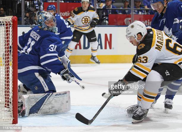 Brad Marchand of the Boston Bruins scores against Frederik Andersen of the Toronto Maple Leafs in Game Four of the Eastern Conference First Round...